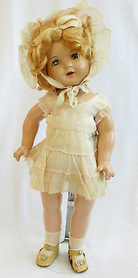 """Vintage Composition Shirley Temple Unmarked Clone Doll 19""""centersnap shoes Ideal"""