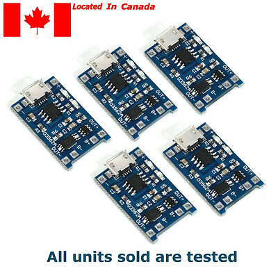 TP4056 Li-ion Battery Charger Module. Micro USB w/protection 5pcs Tested.