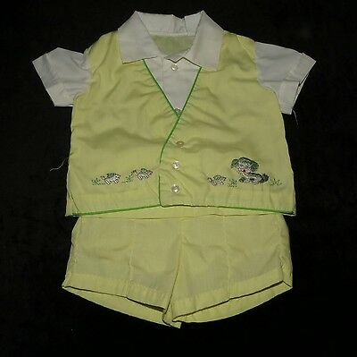 Sweet Vintage Baby Boys 2 Pc Short Set Embroidered Puppies Evc Approx 18-24 M