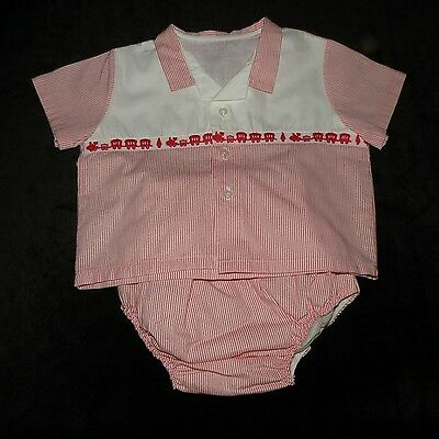 Vintage Baby Boy's 2 Pc Plastic Lined Diaper Set Outfit Evc X-Large Trains