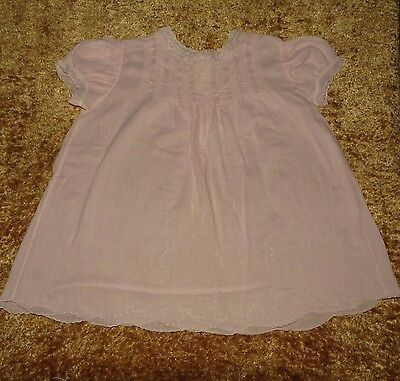 Lovely Vintage Handmade Imported Pintuck Embroidered Batiste Baby Dress Evc