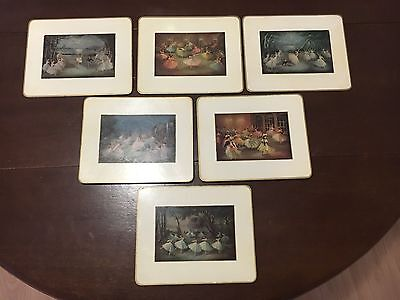 Rare! Set Of 6 Vintage Sheraton Cork Placemats With Ballet Dancers!