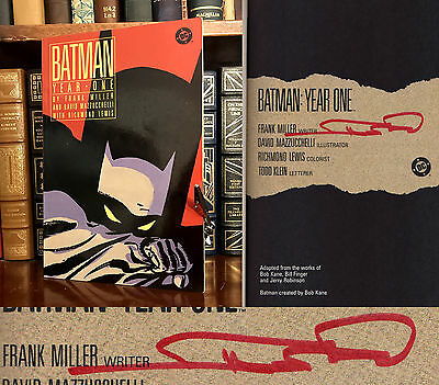 Batman: Year One HAND SIGNED by Frank Miller! 1988! Comic Book Icon! Rare!