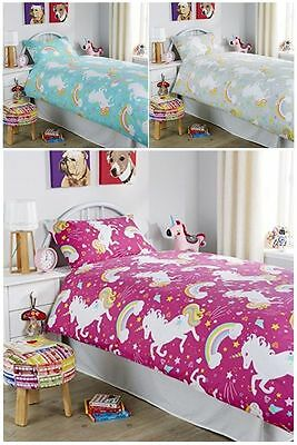 New Unicorn Kids Girls Duvet Quilt Cover Bedding set Rainbow Horse Magic Pony UK
