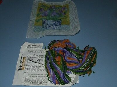 Tapestry Kit- Blue/Purple Irises - with Thread and Instructions