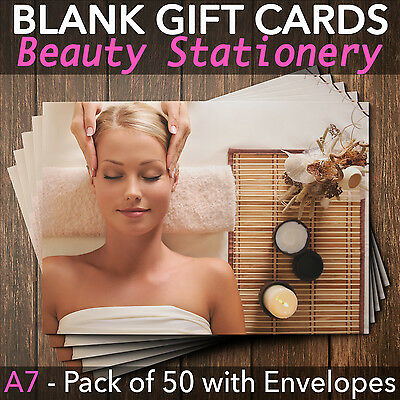 Gift Voucher Card for Massage & Beauty Salons x50, A7 size with envelopes BEA.