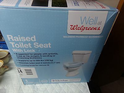 "Walgreens 5"" Raised Toilet Seat With Lock/Latex Free/Microban/NEW/Original Box"