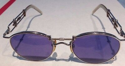 JEAN PAUL GAULTIER 56-0174 SUNGLASSES AND CASE SILVER BLUE LENS Orig. Owner