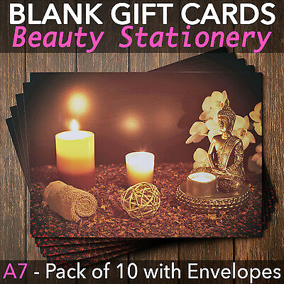 Gift Voucher Card Beauty/Massage/Nail and Spa Salons - x10 + Envelopes BUD