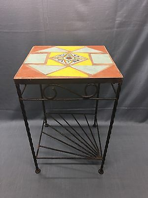 Vintage California Spanish Tile Top Table Wrought Iron Side Table Beautiful Rare