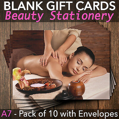 Gift Voucher Card Beauty / Massage and Spa Salons - x10 + Envelopes MAS