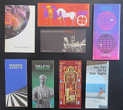 expo67 - 7 booklets / brochures from pavilions  - Greece / Australia / Jamaica