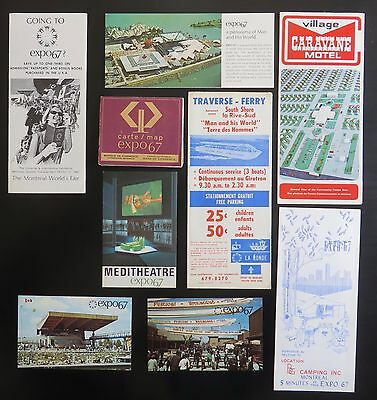 map / brochures / postcards from expo67 - 9 items (Montreal 1967)