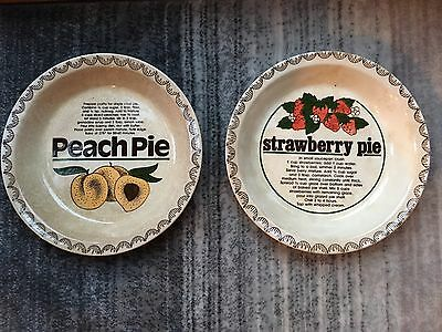 Lot Of 2 Vintage Ceramic Peach & Strawberry Pie Plate With Recipe