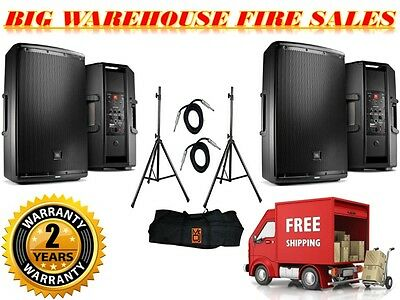 """2) JBL EON615 1000-W 2-Way Powered Speaker System + Stands + 1/4"""" Cables"""