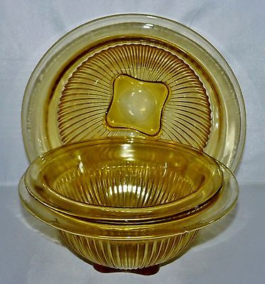 Federal Depression Glass Yellow Amber 3 Piece Ribbed Mixing Bowl Set