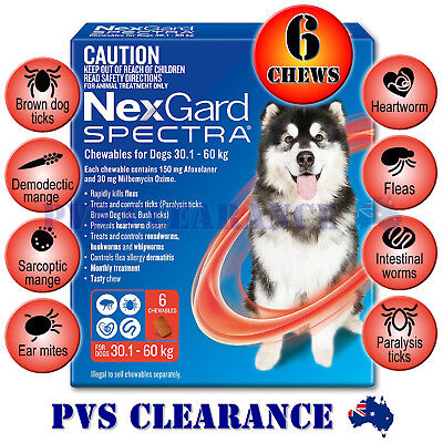 Nexgard Spectra Red 6 for Extra Large Dogs 30.1 - 60 kg 6 Pack - Nexguard