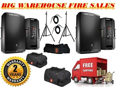 """2) JBL EON615 1000-W 2-Way Powered Speaker System + Stands + 1/4"""" Cables + BAGES"""