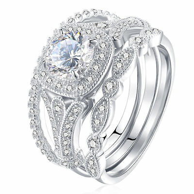 New 3PC Women's Fashion 925 Silver White Sapphire Engagement Wedding Bridal Ring
