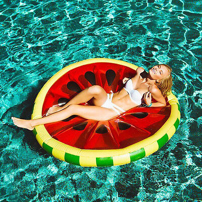 Big Giant Fruit Inflatable Watermelon Water Float Pool Toy Ring Floatie Swim !