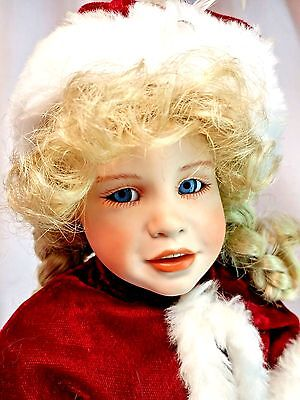 """Christmas Winter Red Coat 16"""" Porcelain Doll Jessica Pink Dress Blonde Mrs Claus"""