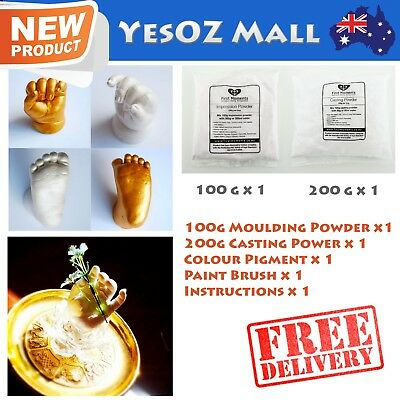 3D Baby Casting DIY Kit 200g Moulding 200g Casting 1 Bag Gold Pigment 100% Safe