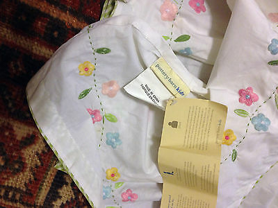 Pottery Barn Kids Embroidered Floral Green Gingham Baby Girl Crib Skirt 10-11""