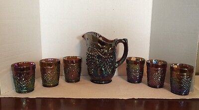 Imperial Glass Irredecent Carnival Glass Grape Pattern Amber Excellent W Tag