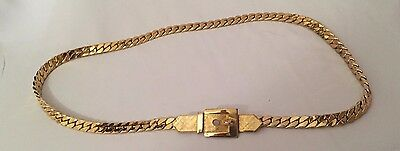 Vintage Accessocraft NYC Chain Link Gold Toned Metal  Belt Signed EUC
