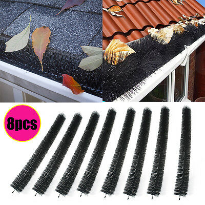 8Pcs 100mm x 8M Hedgehog Gutter Brush Guard Rooftop Protector Filter Leaf Twigs