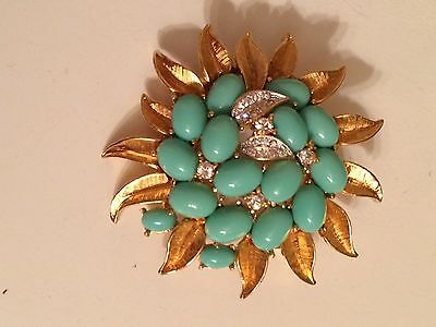 Gold Flower Brooch with Turquoise Stones and Crystal Leaves Signed Ciro Thailand