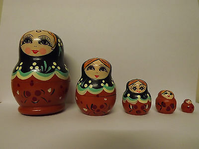 Set of 5 Wooden RUSSIAN BABUSHKA Stacking Dolls ..... Black/Brown ..... #J0617