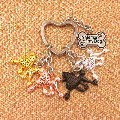 4 shades of walking Caniche poodle Hund inspired petite key ring chain Standard