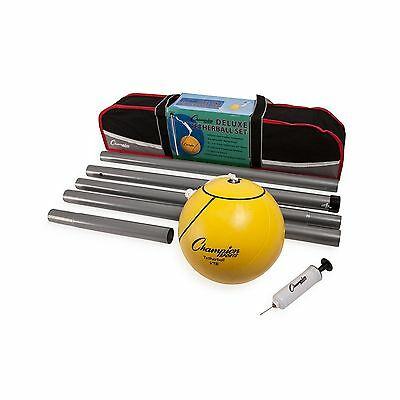"Champion Sports Deluxe Tether Ball Set set yellow 102"" rope 24"" telecopic poles"