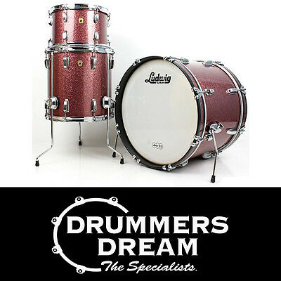 Ludwig Legacy Mahogany 3 Piece Drum Kit Shell Pack in Vintage Burgundy Sparkle