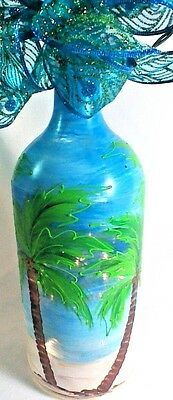 Hand Painted  Bottle Lamp with Palm Trees