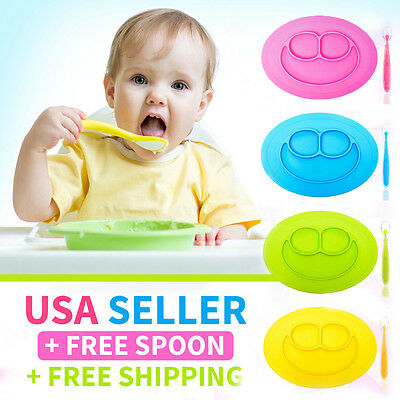 Silicone Placemat Plate + FREE Spoon - Safe Baby Food Divided Bowl One-Piece