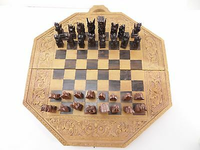 Hand carved wooden chess set with Backgammon on the revise side