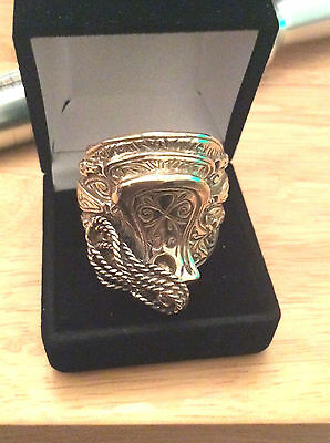 Large Ring-Solid 9Ct Gold- Saddle Ring -Size X1/2 Heavy 54 Gms-Hallmarked