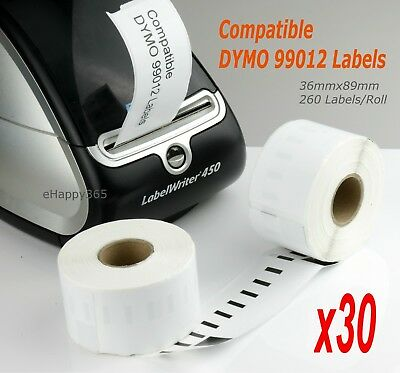 30 Compatible for Dymo 99012 Label 36mm x 89mm Labelwriter450/450Turbo