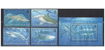 Ascension 2008 sharks marine life set+s/s MNH