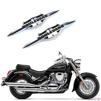 Pair Chrome  ABS Plastic Gas Tank Emblem Badge Decal For Suzuki Boulevard