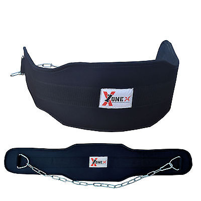 "ONEX Gym Weight Lifting Belt 4""Leather Lumbar Back Support Power Training Belt R"