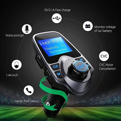 Bluetooth FM Transmitter USB Car Charger Wireless Car Kit for iPhone UK Stock