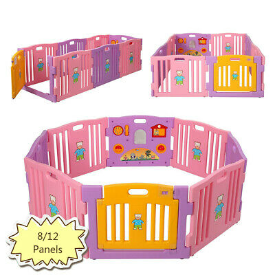 Baby Playpen Kids 8/12 Panels Safety Panel Play Center Yard Home Indoor Fence