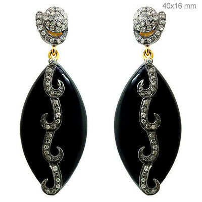 Black Onyx Pave Diamond Dangle Earrings 14K Yellow Gold Handmade Silver Jewelry