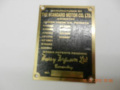Ferguson Tractor TEA, TED, TEF. 1.Commission PLATE. New as original. 6 options