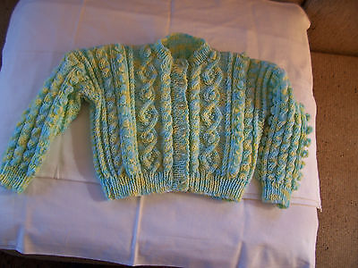 New Hand Knitted Childs Aaron  Cardigan Lemon & Blue  2 -3 Years  Approx
