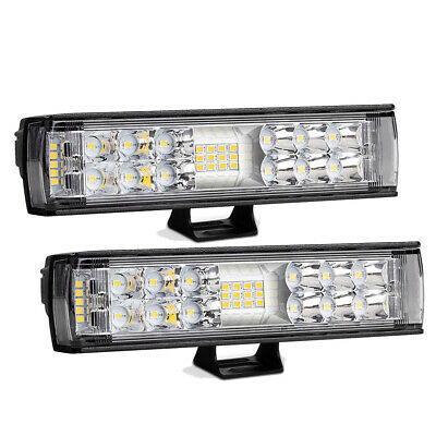 "2Pcs 7"" inch 768W Quad-Row LED Pods Work Light Bar Spot Beam Driving Offroad 4WD"