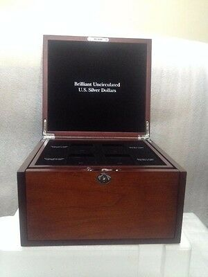 Brilliant Uncirculated U.S. Silver Dollars Morgan Cherry Display Case Peace Box